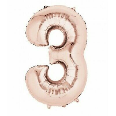 Anagram 3 Helium Foil Balloon 86 cm 34 Inches Birthday Rose Gold