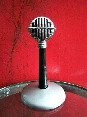 Vintage 1960's Astatic JT-30 Ceramic harp microphone old deco midcentury w stand