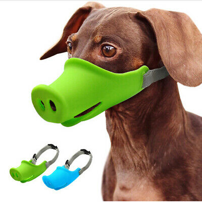Pet Dog Adjustable Mask Muzzle Mouth No Barking Anti-bite Silicone Pig Shape US