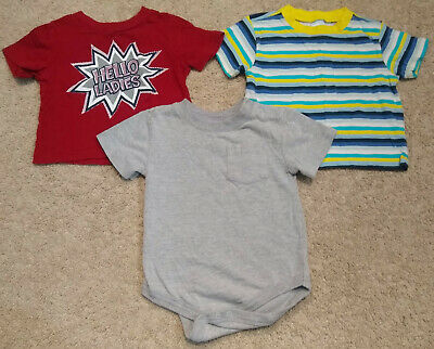 Lot (3) Boys Old Navy/Circo SS T-Shirts-Striped/Funny-Gray/Red/Blue-12/18 months