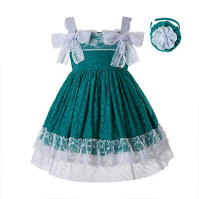 Girls Spanish Dress Lace Strapped Birthday Party Pageant Summer Sundress Age 2-8