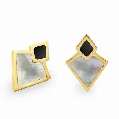 Cute New Yellow Gold Plated Brass Black & Mother of Pearl Enamel Stud Earrings