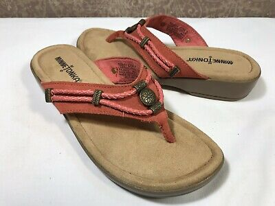 68dce037873a MINNETONKA Silverthorne Women s PINK Suede Mule Strap Braided Thong Sandal  7M US