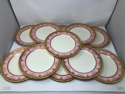 Minton Tiffany Pink & Gold Encrusted Set of 11 Dinner Plates 9 3/4""