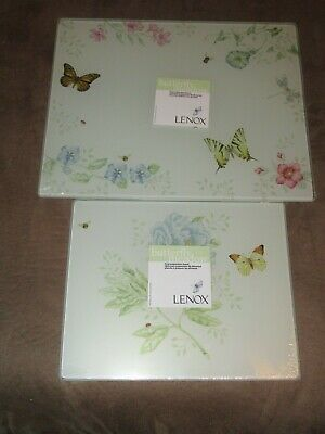 2 Lenox Butterfly Meadow Glass Food Preparation Boards-1 Large & 1 Small-New