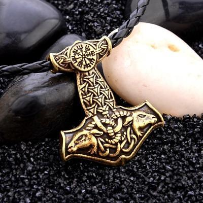 Mens Nordic Viking Pendant Leather Cord Myth Thors Hammer Necklace NEW G5R4