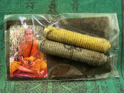 Takrud 2 LP Mun Wat Banjan Magic Good Luck Rich Holy Talisman Thai Buddha Amulet