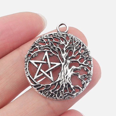 10Pcs Antique Silver Round Open Life Tree Star Pentagram Charms Jewelry Findings