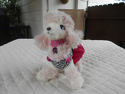 2010 Mattel Applause Russ Berrie Barbie Pink & White Poodle Zebra Outfil Plush
