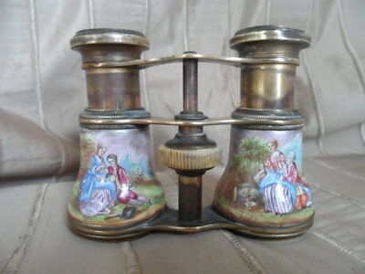 Antique Enamel Brass Opera Glasses - RARE