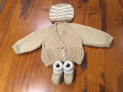 Hand knitted baby set, Cardigan,Beanie and Bootees NEWBORN (Caramel/Beige)
