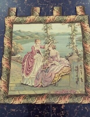 "Antique 19c Aubusson French Tapestry Beautiful Color  size 23""×23""(cm59×59)"