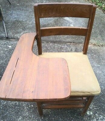 VINTAGE TIGER OAK CLASS ROOM HOME SCHOOL  ARM DESK CHAIR need reupholster