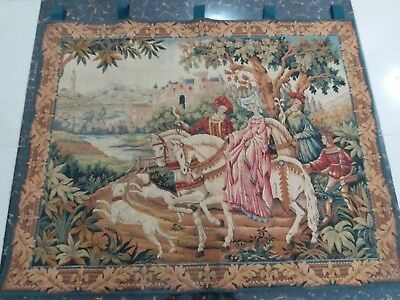 "Antique 19c Aubusson French Tapestry Beautiful Color Race View 37""X47""(Cm 94×119"