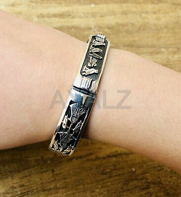 Egyptian Wide Open Work Personalized Handmade Solid Silver Cartouche Bracelet