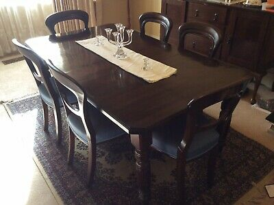Antique Extension Dining Table and Six Chairs