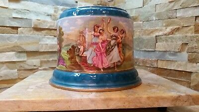 Antique Porcelain, Hand Painted Art, Late 1800s, Stoke-On-Trent, Urn Base & Urn