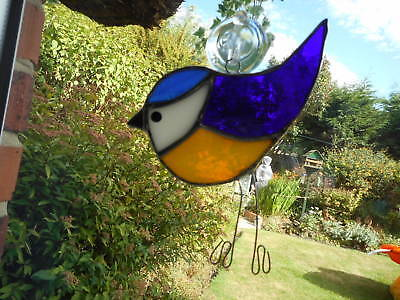 Stained Glass Blue-tit Bird Suncatcher or Wall Mount.