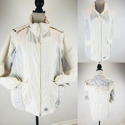 Ladies NEXT Spirit Jacket Coat Gillet Padded Quilted Winter L Large Cream Hood