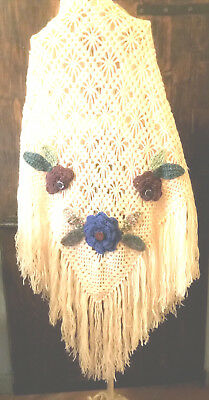 Scialle Uncinettofatto A Manoshawlcrochetflowerhand Made Eur