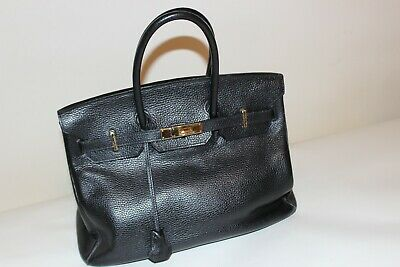 8f07ff87ff4 HERMES BIRKIN 35 Hand Bag Togo Black Purse 90073488 -  6
