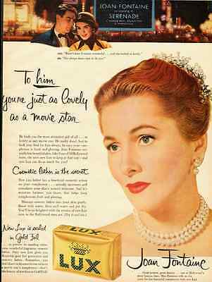 1956 vintage ad for Lux Beauty Soap with Joan Fontaine  -020212
