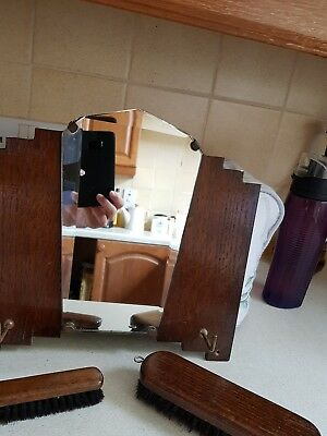 Vintage English Gentleman's Hallway Vanity Set with Mirror and Clothes Brushes