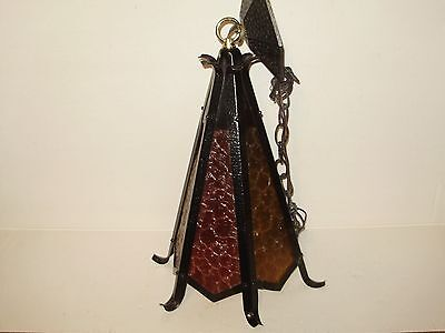 Vintage Antique  Spanish Arts And Craft Hanging Light Excellent!
