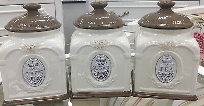 Bown Vintage Set of 3 Ceramic Kitchen Tea/Coffee/Sugar Canisters