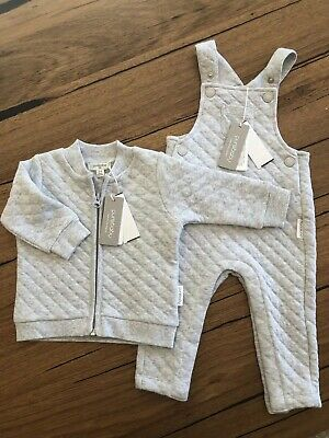 BNWT new Purebaby Organic Cotton Quilted Jacket and Overalls 3-6 months 00