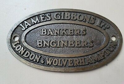 James Gibbons  bankers engineers SAFE PLATE PLAQUE  BRASS