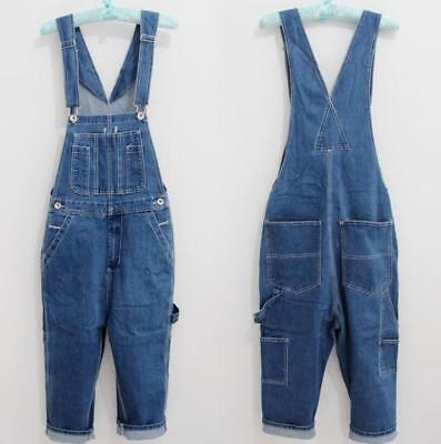 Mens Denim Trousers Overalls Jeans Washed Work Boys Summer Jumpsuits Loose Pants