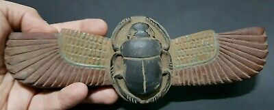 ANCIENT EGYPTIAN Antiquities SCARAB Beetle Wings EGYPT Carved Stone Statue BC