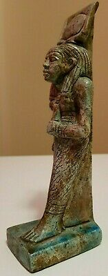 ANCIENT EGYPTIAN ANTIQUES Rare Egypt Statue Of Hathor Blue Glazed EGYPT Stone BC