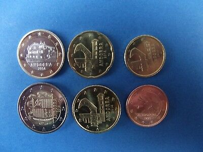 Andorra,6 monedas -2€ 1€ 50 cts 20 cts 10 cts 5 cts,año 2014 S/C
