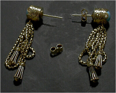 Tassel Earrings Turquoise Stud Droppers Victorian era 18ct Gold Rare Antique