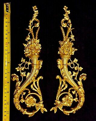 Pair French Antique Louis Xvi Gold Gilt Dore Resin Wall Door Moulding Decoration