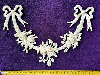 DECORATIVE MOULDING ANTIQUE GOLD GILT WHITE WALL DECORATION Ribbon Floral Swag