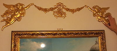 125cm FRENCH ANTIQUE LOUIS XV GOLD GILT DORE RESIN WALL DOOR MOULDING DECORATION