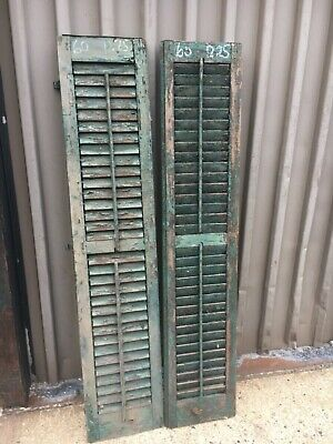 "PaiR c1890 louvered green window house shutters central CT 60"" x 12.25"" x 1.25"""