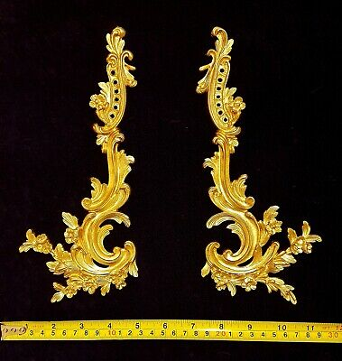 Pair Decorative Moulding Antique Louis Xvi Gold Gilt Or White Wall Decoration