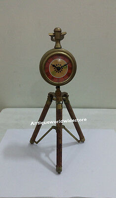 Nautical Vintage Clock On Tripod Desk Clock  Table Clock  Nautical  Brass Clock