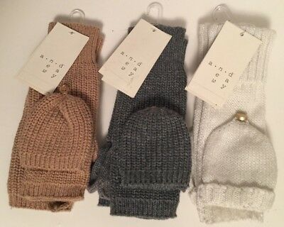 NEW-A New Day Knit Fingerless Mittens Flip Top Gloves-Texting-Recycled Materials