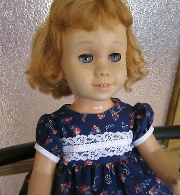 Floral Bouquets and Lace Navy Blue Dress for Chatty Cathy, American Girl