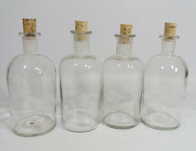 4 Vintage Glass Bottles with Corks Ideal for Display/ Containers