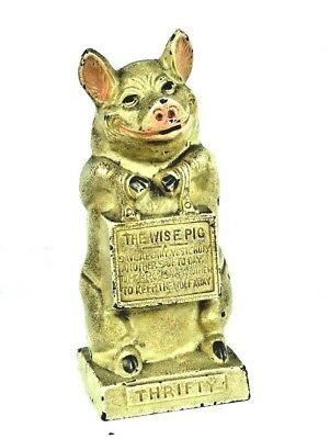 "Vintage 1930's Hubley ""The Wise Pig Thrifty"" Piggy Cast Iron Still Bank EXC"