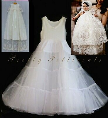 BABY CHRISTENING PETTICOAT BAPTISM GOWN DRESS LONG UNDERSKIRT all lengths