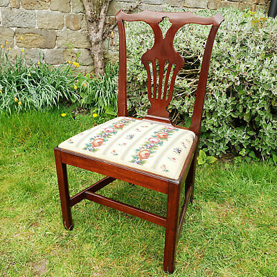 Chippendale George III Tapestry Upholstered Mahogany Chair C19th (Dining Desk)