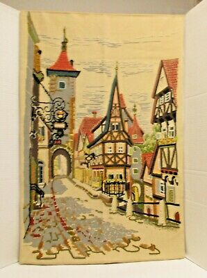 Swiss Village Finished Crewel Embroidery Tudor Style Buildings Colorful Flowers