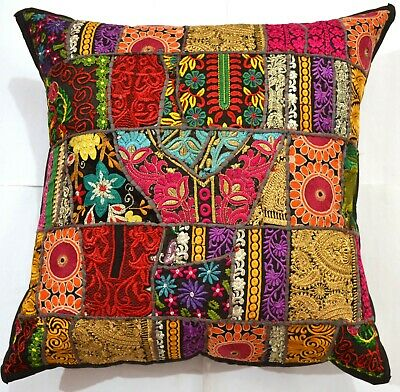 "24 "" Bohemian-Indian Embroidery Decorative Patchwork Pillow/Cushion Cover Black"